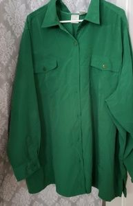 4x green button up blouse